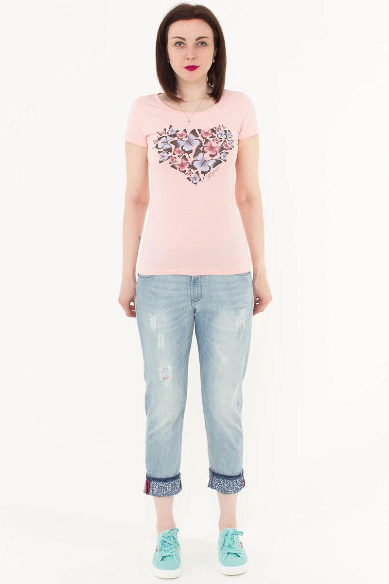 Футболка женская F5, цвет: светло-розовый. 170077_12380. Размер XL (50)170077_12380/Butterfly, TR Porte, light pinkЖенская футболка F5, изготовленная из качественного материала, поможет создать модный образ и станет отличным дополнением к повседневному гардеробу. Модель оформлена оригинальным принтом.