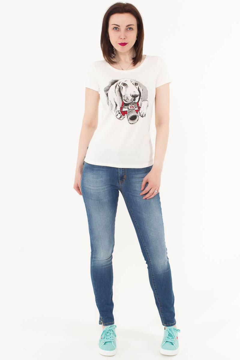 Футболка женская F5, цвет: слоновая кость. 170084_12380. Размер L (48)170084_12380/Dog, TR Porte, ecruЖенская футболка F5, изготовленная из качественного материала, поможет создать модный образ и станет отличным дополнением к повседневному гардеробу. Модель оформлена оригинальным принтом.