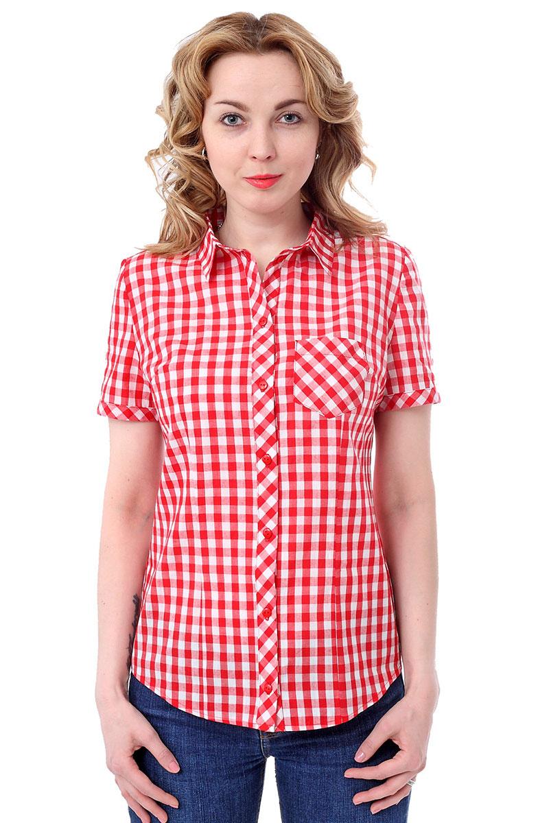 Блузка F5, цвет: красный, белый. 171006_17334. Размер S (44)171006_17334, Cotton, Red checkЖенская блузка F5 выполнена из качественного материала, поможет создать модный образ и станет отличным дополнением к повседневному гардеробу. Модель приталенного кроя с отложным воротником и короткими рукавами застегивается спереди на пуговицы. Внешняя сторона дополнена накладным карманом.