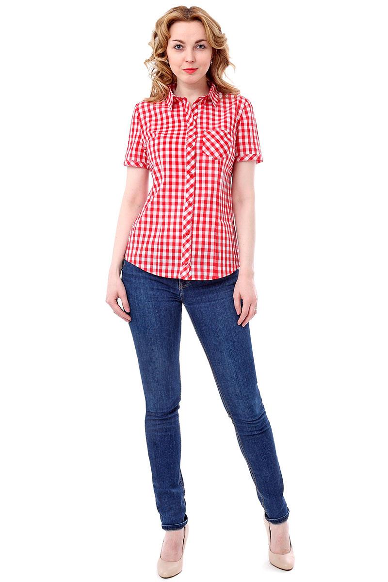 Блузка F5, цвет: красный, белый. 171006_17334. Размер XL (50)171006_17334, Cotton, Red checkЖенская блузка F5 выполнена из качественного материала, поможет создать модный образ и станет отличным дополнением к повседневному гардеробу. Модель приталенного кроя с отложным воротником и короткими рукавами застегивается спереди на пуговицы. Внешняя сторона дополнена накладным карманом.