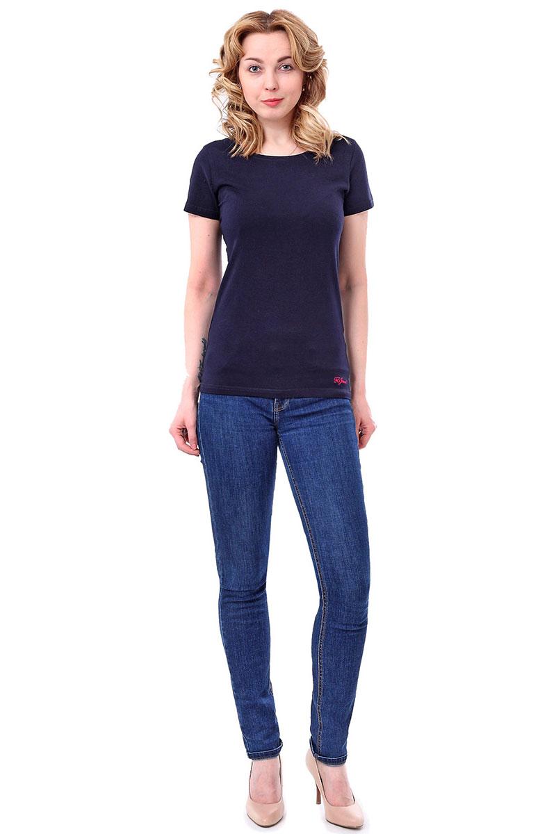 Футболка женская F5, цвет: синий. 178006_12380/F5/P. Размер M (46)178006_12380/F5/P, TR Porte, navyЖенская футболка F5, изготовленная из качественного материала, поможет создать модный образ и станет отличным дополнением к повседневному гардеробу. Модель оформлена вышитым логотипом бренда.