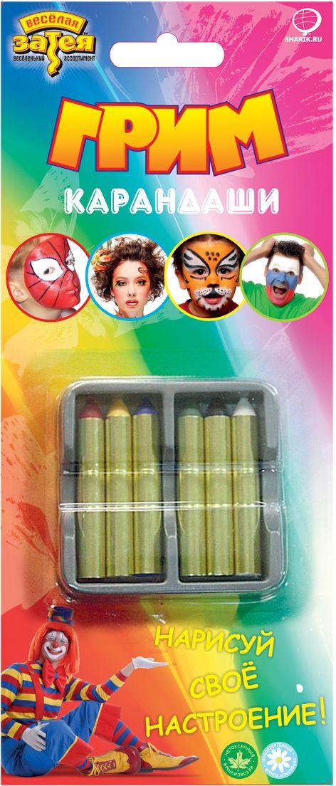 Веселая затея Карандаши для грима 6 цветов -  Украшение волос, лица и тела