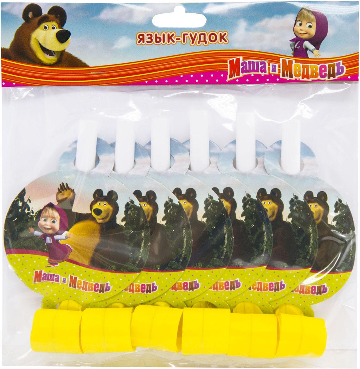 Веселая затея Язык-гудок Маша и Медведь 6 шт маша и медведь колпак машины сказки 6 шт