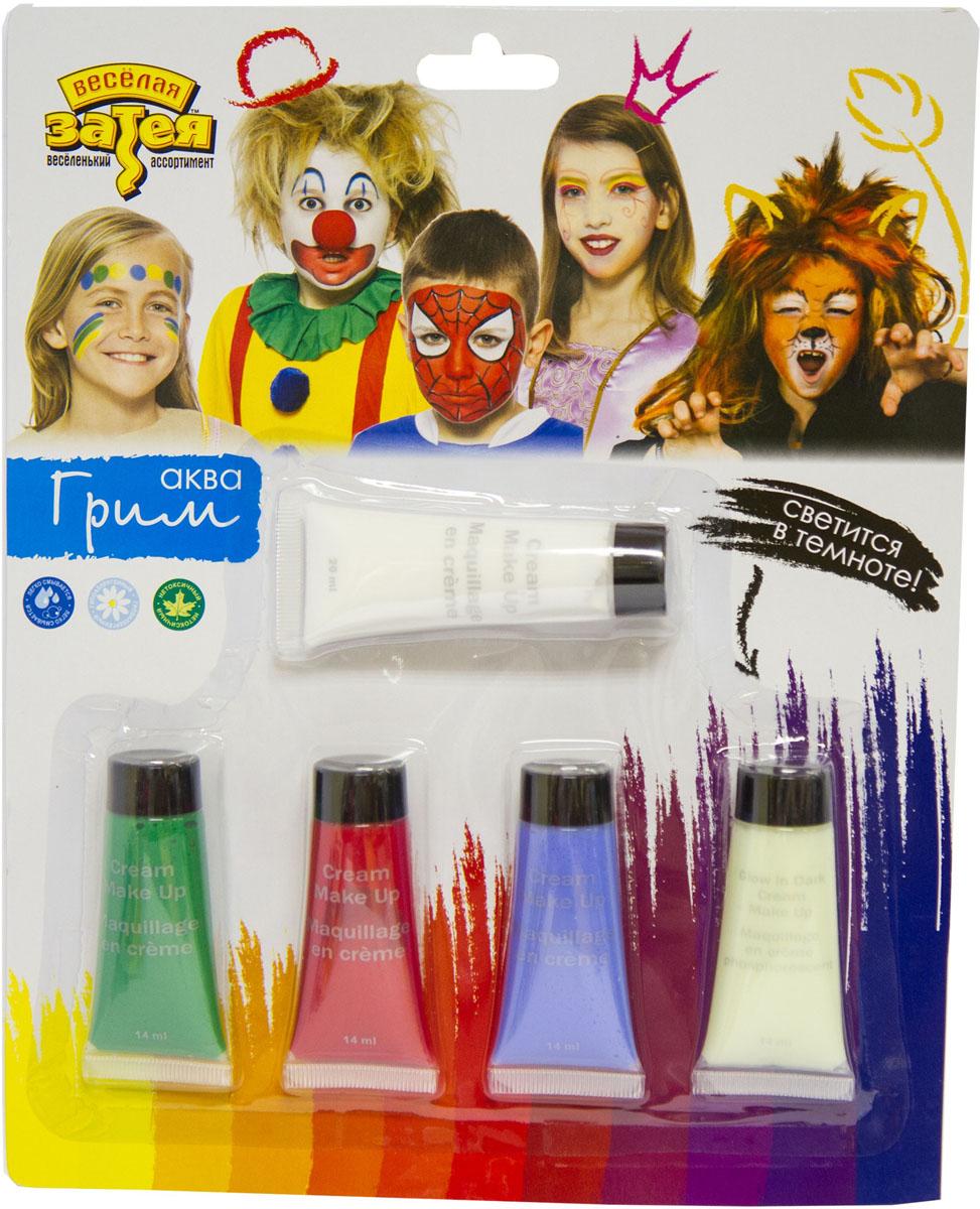 Веселая затея Аква-крем для грима 4 цвета + светящийся крем в темноте -  Украшение волос, лица и тела
