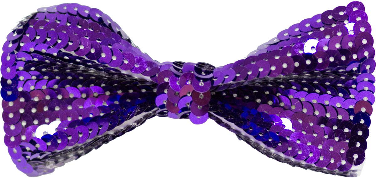 Веселая затея Галстук-бабочка с пайетками цвет фиолетовый
