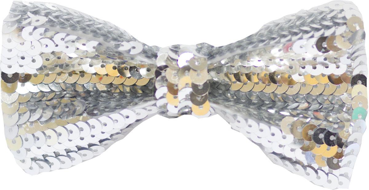 Веселая затея Галстук-бабочка с пайетками цвет серебристый