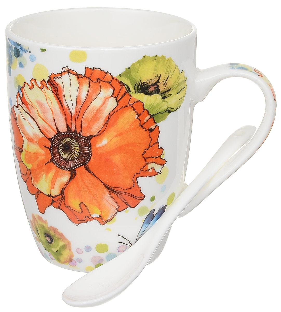 Кружка Доляна Акварель, с ложкой, цвет: оранжевый, 300 мл836384_оранжевыйКружка Доляна Акварель изготовлена из высококачественной керамики. Изделие оформлено красочным рисунком и покрыто превосходной сверкающей глазурью. Изысканная кружка прекрасно оформит стол к чаепитию и станет его неизменным атрибутом.В комплект входит чайная ложка.Диаметр кружки (по верхнему краю): 8,2 см.Высота кружки: 10,5 см.Длина ложки: 10 см.Размер рабочей части ложки: 4 х 2,5 см.