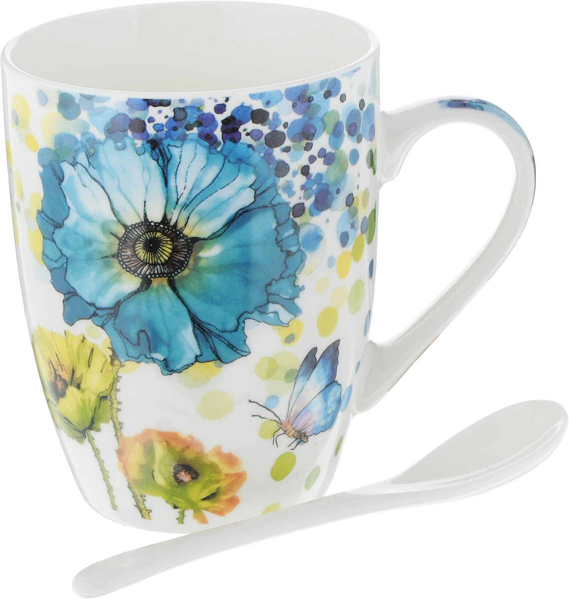 Кружка Доляна Акварель, с ложкой, цвет: голубой, 300 мл836384Кружка Доляна Акварель изготовлена из высококачественной керамики. Изделие оформлено красочным рисунком и покрыто превосходной сверкающей глазурью. Изысканная кружка прекрасно оформит стол к чаепитию и станет его неизменным атрибутом.В комплект входит чайная ложка.Диаметр кружки (по верхнему краю): 8,2 см.Высота кружки: 10,5 см.Длина ложки: 10 см.Размер рабочей части ложки: 4 х 2,5 см.