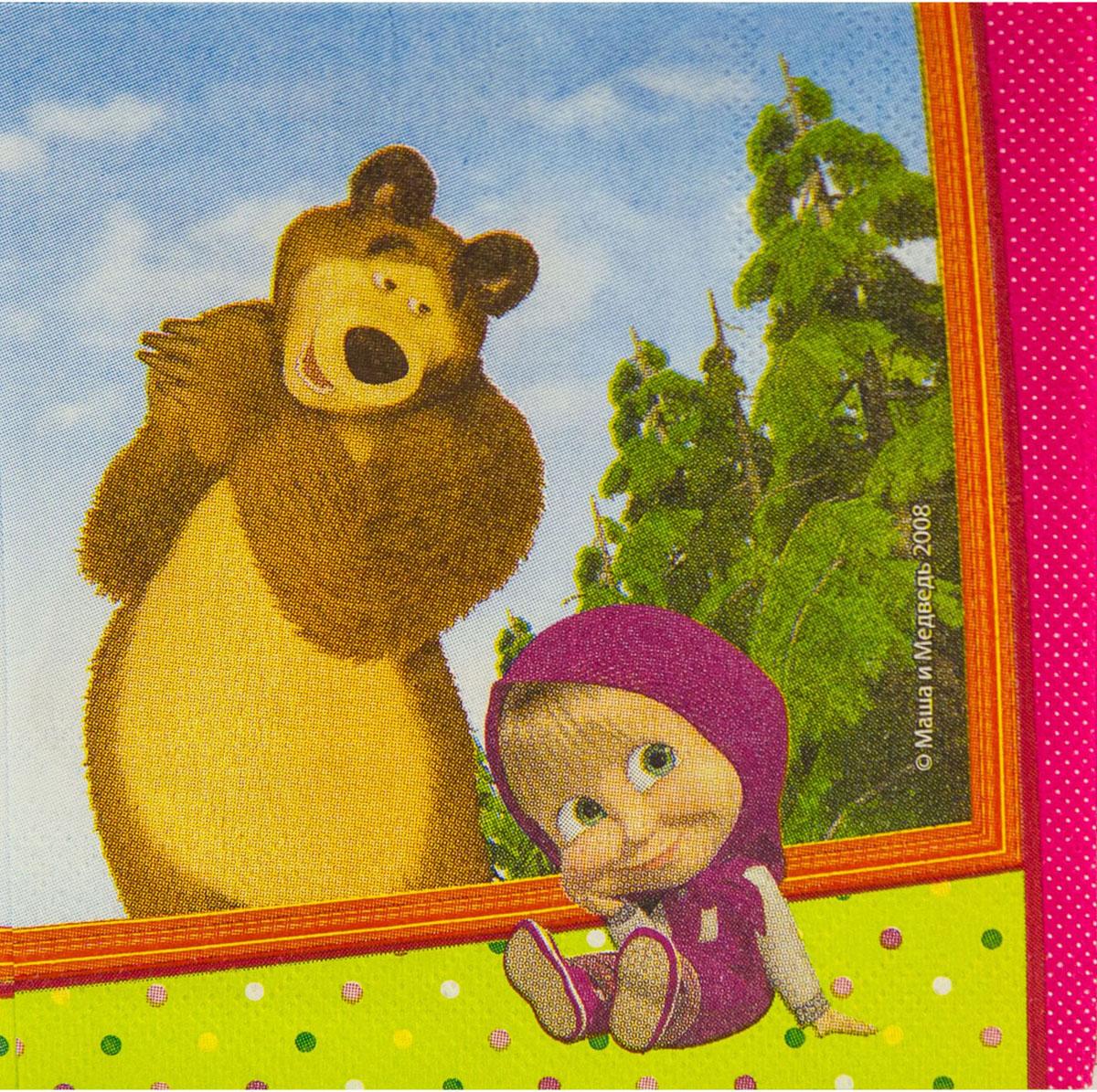 Веселая затея Салфетка Маша и Медведь 33 x 33 см 12 шт веселая затея салфетки маленький пират трехслойные 12 шт