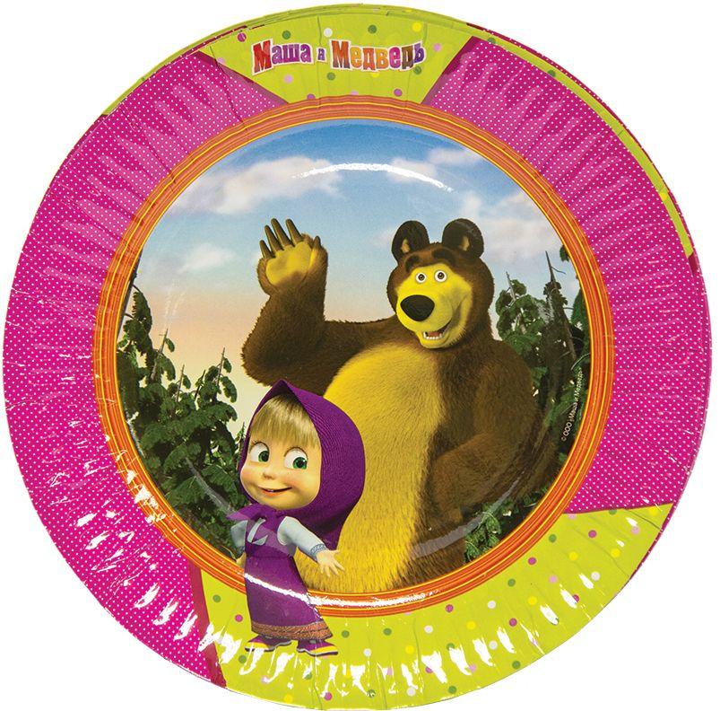 Веселая затея Тарелка бумажная Маша и Медведь 17 см 6 шт аппарат для приготовления сахарной ваты bradex сладкоежка