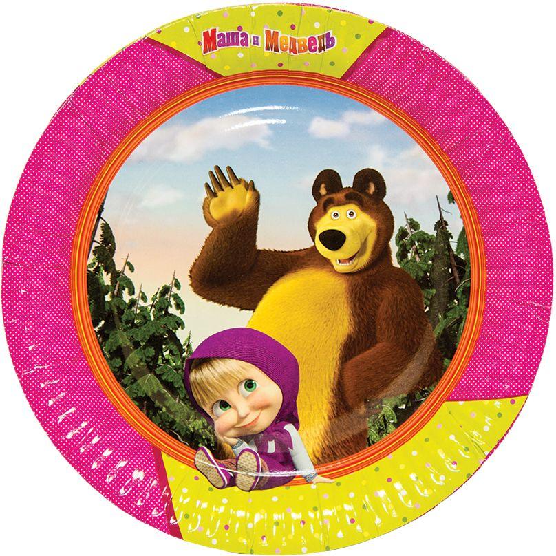 Веселая затея Тарелка бумажная Маша и Медведь 23 см 6 шт - Сервировка праздничного стола