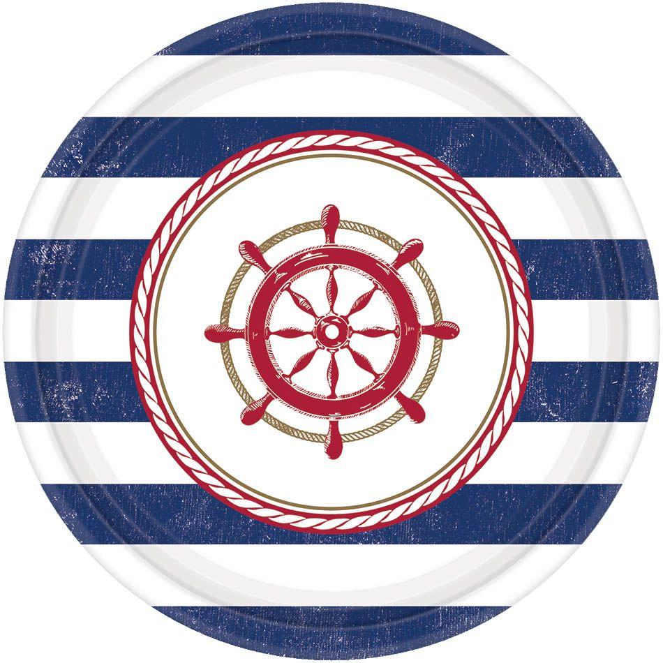 Amscan Тарелка Морская 17 см 8 шт -  Сервировка праздничного стола