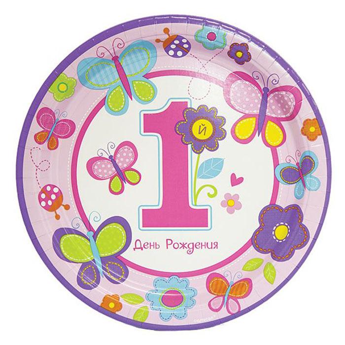 Amscan Тарелка Первый день рождения Девочка 25 см 8 шт -  Сервировка праздничного стола