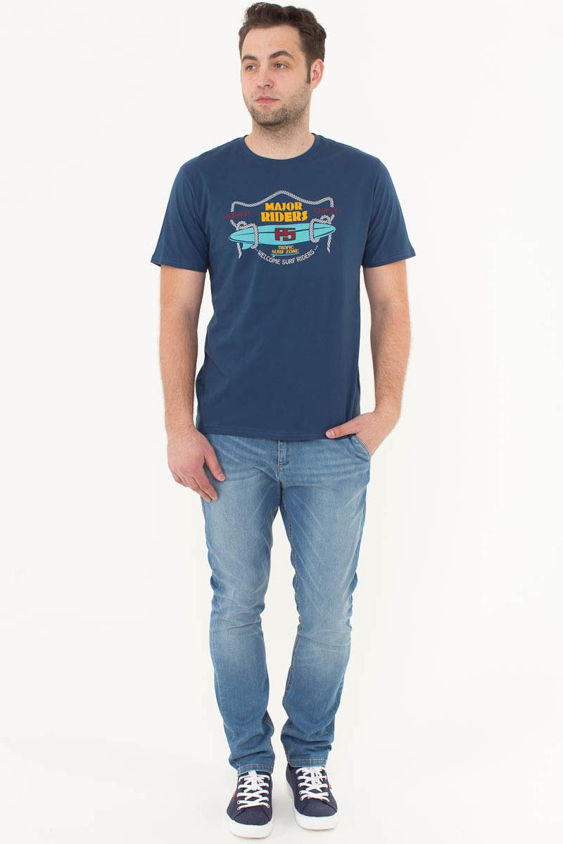 Футболка мужская F5, цвет: синий. 170094_02285. Размер XXL (54)170094_02285/Riders, TR Plain, indigoМужская футболка F5, изготовленная из качественного материала, поможет создать модный образ и станет отличным дополнением к повседневному гардеробу. Модель полуприлегающего кроя оформлена оригинальным принтом.