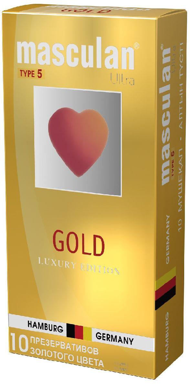Masculan Презервативы 5 Ultra №10, утонченный латекс, цвет: золотой masculan презервативы 5 ultra 10 утонченный латекс цвет золотой