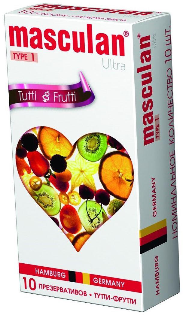 Masculan Презервативы 1 Ultra №10, с ароматом Тутти-фрутти masculan ultra fine презервативы ультратонкие с обильной смазкой