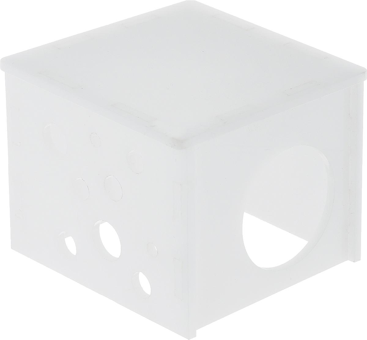 Домик для грызунов Грызлик Ам Куб, цвет: белый, 8 х 8 х 7 см40.GR.057Грызлик Ам Куб - это комфортный пластмассовый домик для грызунов. Он послужит надежным укрытием вашему любимцу, а также идеальным местом для сна и отдыха. Домик весьма просторный, имеет оригинальную конструкцию и удобный вход.Этот аксессуар предоставит вашему любимцу минуты отдыха в течение дня и позволит ощутить максимальный комфорт и уют.
