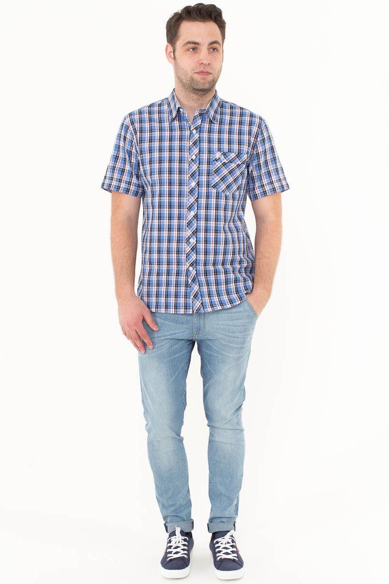 Рубашка мужская F5, цвет: голубой, синий, белый. 176009_07151. Размер XL (52)176009_07151, Cotton, Check 9Стильная мужская рубашка F5, изготовленная из высококачественного материала, поможет создать модный образ и станет отличным дополнением к повседневному гардеробу. Модель прямого кроя с отложным воротничком застегивается на пуговицы и дополнена накладным карманом. Рубашка подойдет для офиса, прогулок или дружеских встреч и будет отлично сочетаться с джинсами и брюками.
