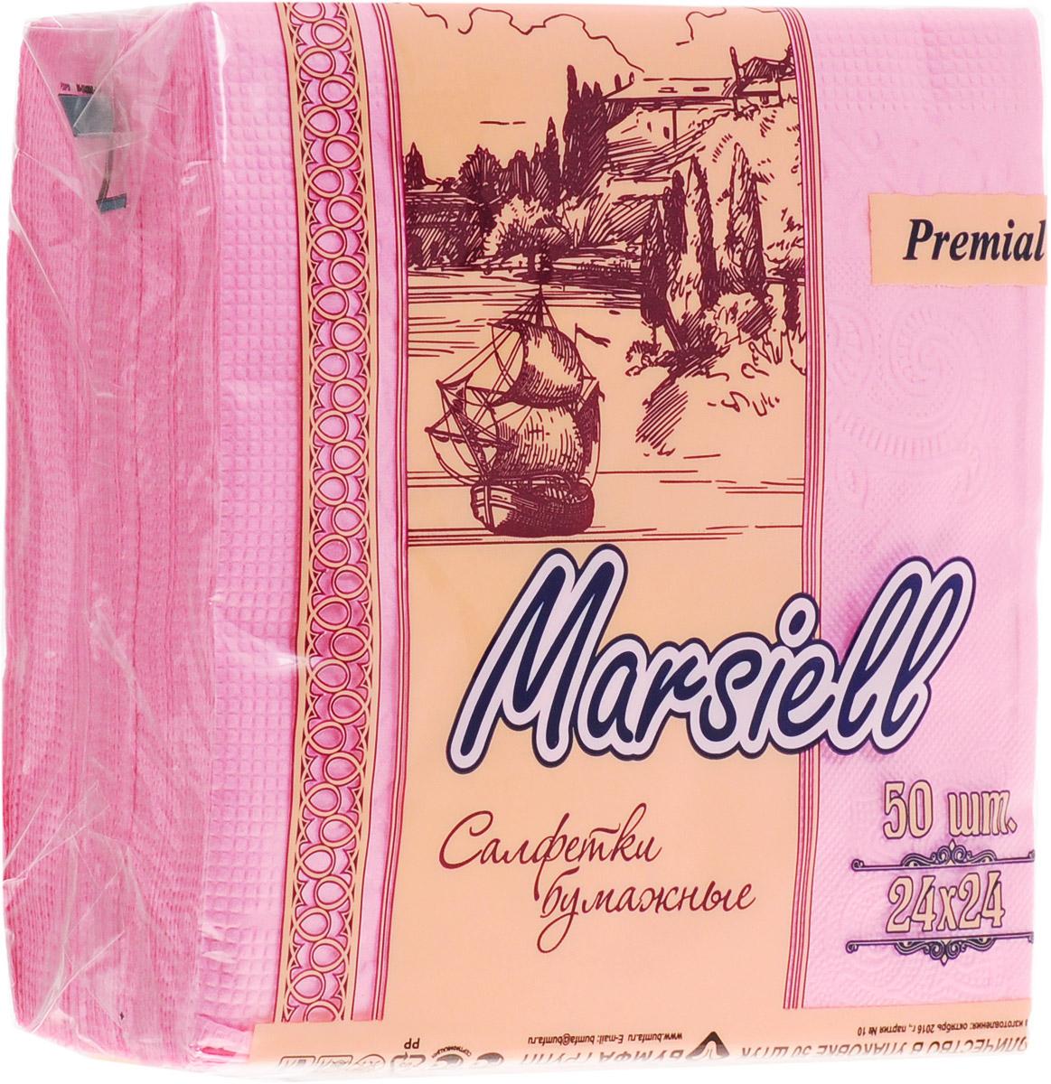 Premial Marsiel Салфетки декоративные двухслойные, цвет: розовый, 50 шт0910-2190_розовыйУниверсальные двухслойные салфетки Premial Marsiel выполнены из высококачественного целлюлозного сырья. Салфетки подходят для косметического, санитарно-гигиенического и хозяйственного назначения. Изделия обладают хорошими впитывающими свойствами. Салфетки имеют мягкую и нежную текстуру. При извлечении из коробки салфетки не рвутся. Салфетки окрашены в яркий цвет и станут превосходным украшением праздничного стола.