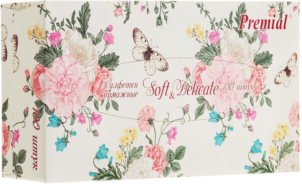 Premial Салфетки бумажные Цветы, двухслойные, цвет: белый, 100 шт0910-1247_цветы, бежевыйУниверсальные двухслойные салфетки Premial Цветы выполнены из высококачественного целлюлозного сырья. Салфетки подходят для косметического, санитарно-гигиенического и хозяйственного назначения. Изделия обладают хорошими впитывающими свойствами. Салфетки имеют мягкую и нежную текстуру. При извлечении из коробки салфетки не рвутся. Упаковка оформлена изображением цветов. Специальный тип сложения нон-стоп позволяет беспрепятственно извлекать салфетки друг за другом.