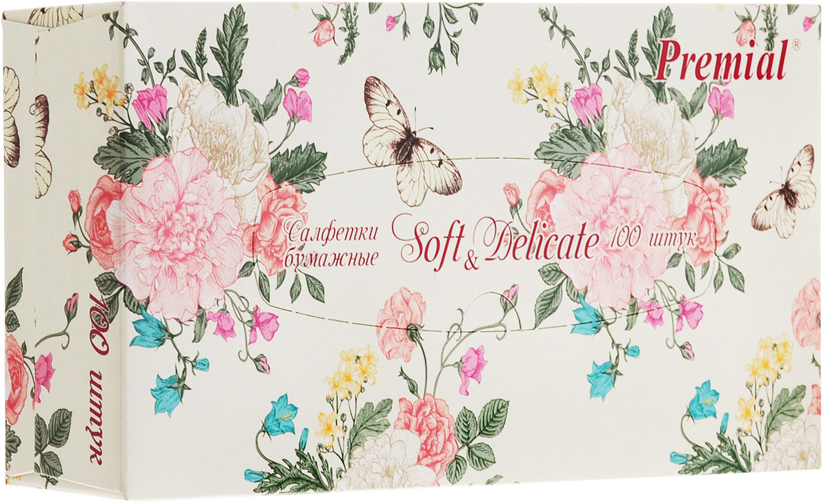 Premial Салфетки бумажные Цветы, двухслойные, цвет: белый, 100 шт