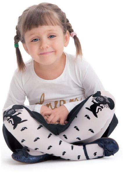 Колготки для девочки Knittex, цвет: белый, черный. Norka. Размер 122/128