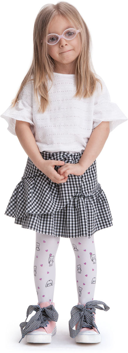 Колготки для девочки Knittex, цвет: белый. Teddy. Размер 122/128TeddyКолготки для девочки Knittex выполнены из комбинированного материала. Эластичные швы и мягкая резинка на поясе не позволят колготкам сползать и при этом не будут стеснять движений.