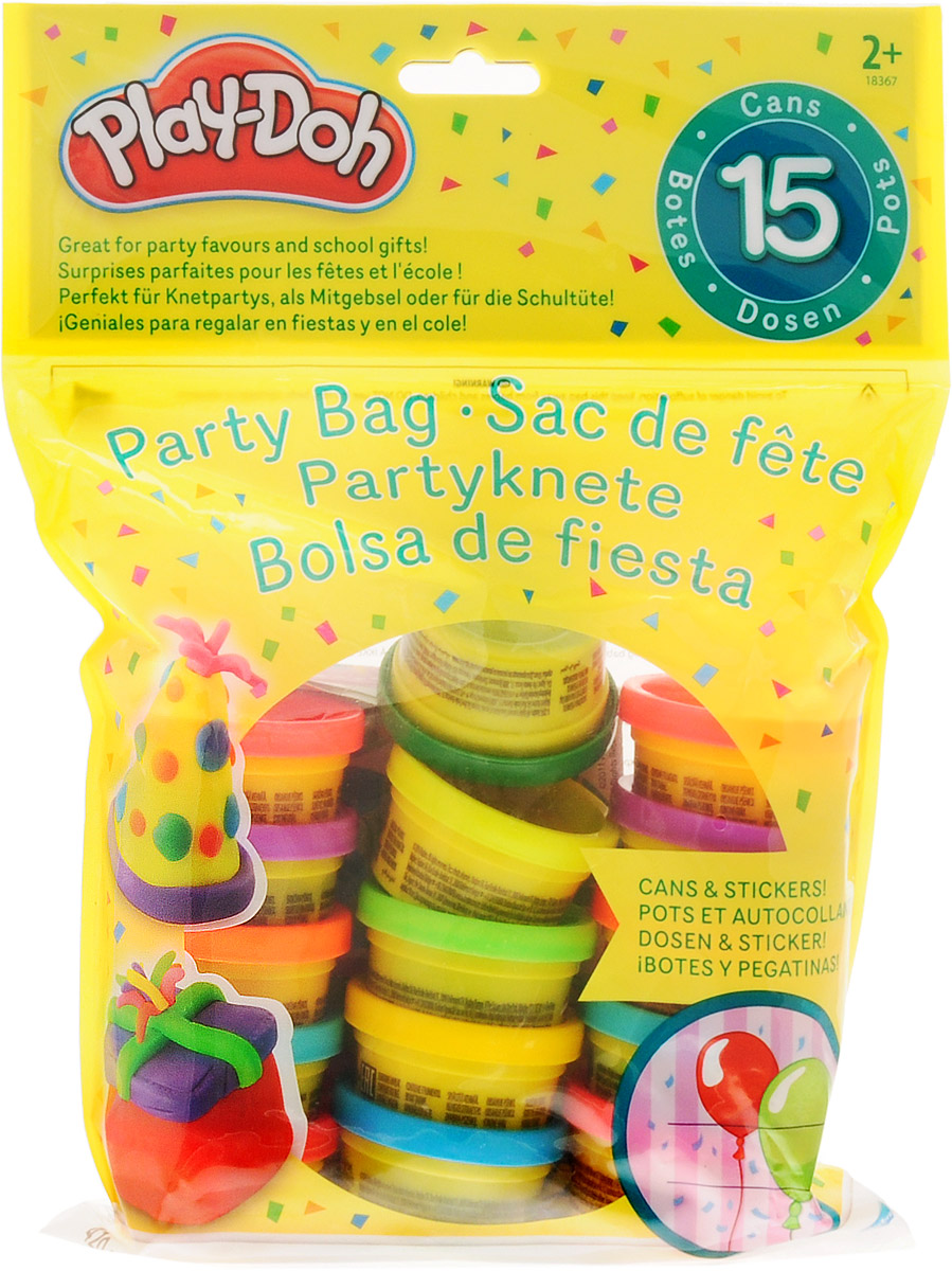 Play-Doh Набор для лепки Вечеринка18367121Набор для лепки Play-Doh включает в себя 15 баночек пластилина основных и ярких цветов, а также наклейки. Play-Doh призван стимулировать творчество и воображение. Используй основные цвета или смешивай их, чтобы получить новую палитру цветов. Уникальный пластилин изготовлен из натуральных материалов и безопасен для малышей, он не прилипает к рукам и не оставляет пятен.Игры с данным набором и лепка совершенствуют моторику пальчиков, развивают воображение и эстетический вкус крохи.