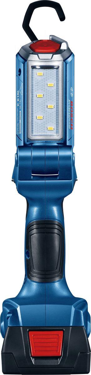 Аккумуляторный фонарь Bosch GLI 18V-300. 06014A110006014A1100Фонарь Bosch 18 В (АКБ и з/у в комплект не входит) работает от аккумуляторов любых электроинструментов серии 14.4 / 18 В Bosch Professional (синего цвета). Яркий и безопасный; гибкий в использовании; 6 мощных светодиодов. Напряжение - 14.4/18 В; яркость - 300 Лм; время работы - 300 Мин/Ач (18 В), 250 Мин/Ач (14,4 В).
