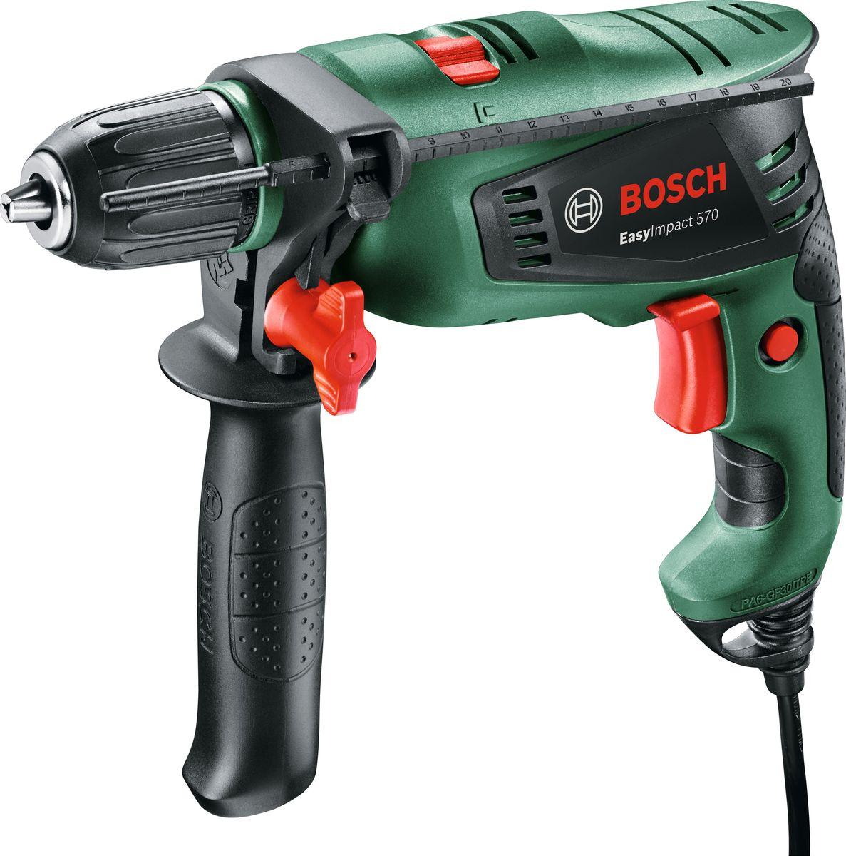 Дрель ударная Bosch EasyImpact 5700603130120Еще никогда прежде сверление не было таким легким — благодаря своему малому весу, а также компактной и эргономичной конструкции обращение с инструментом будет исключительно простым. Высокая производительность сверления несмотря на компактное исполнение: с этим мощным и компактным инструментом от Bosch обычное сверление станет детской игрой — в любых материалах, даже в бетоне. Быстрая и простая замена рабочего инструмента благодаря однокулачковому быстрозажимному сверлильному патрону с Bosch Auto-Lock.Мощность: 570 Вт Макс. Крутящий момент: 12 Н/м Макс. Сверление бетон: 10 мм Макс. Сверление сталь: 8 мм Макс. Сверление древесина: 25 мм Число оборотов на холостом ходу: 3000 об/мин Частота ударов: 33000 уд/мин.