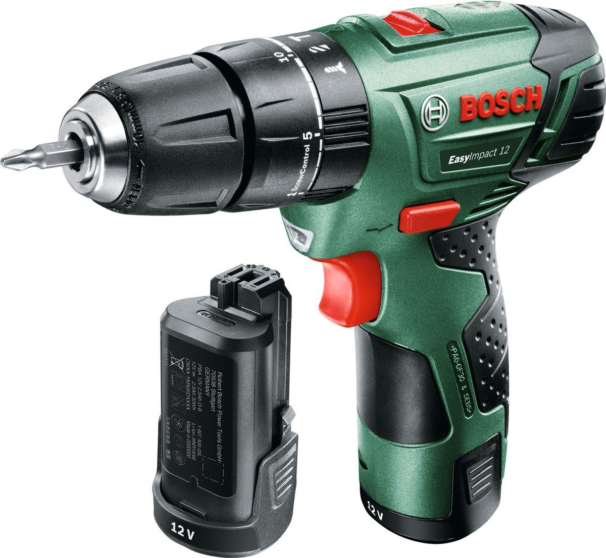 Дрель аккумуляторная ударная Bosch EasyImpact 12, 2 аккумулятора дрель электрическая bosch psb 500 re 0603127020 ударная
