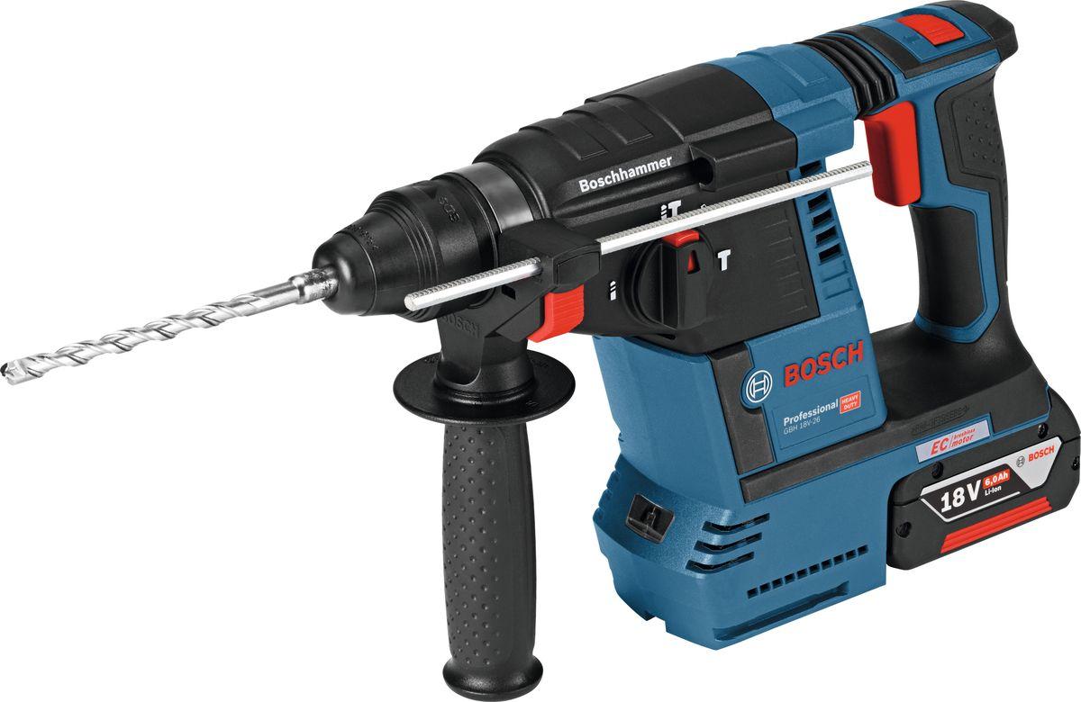 Перфоратор аккумуляторный Bosch GBH 18V-26, 2 аккумулятора и зарядное устройство штатив bosch bt 250 0 601 096 a00