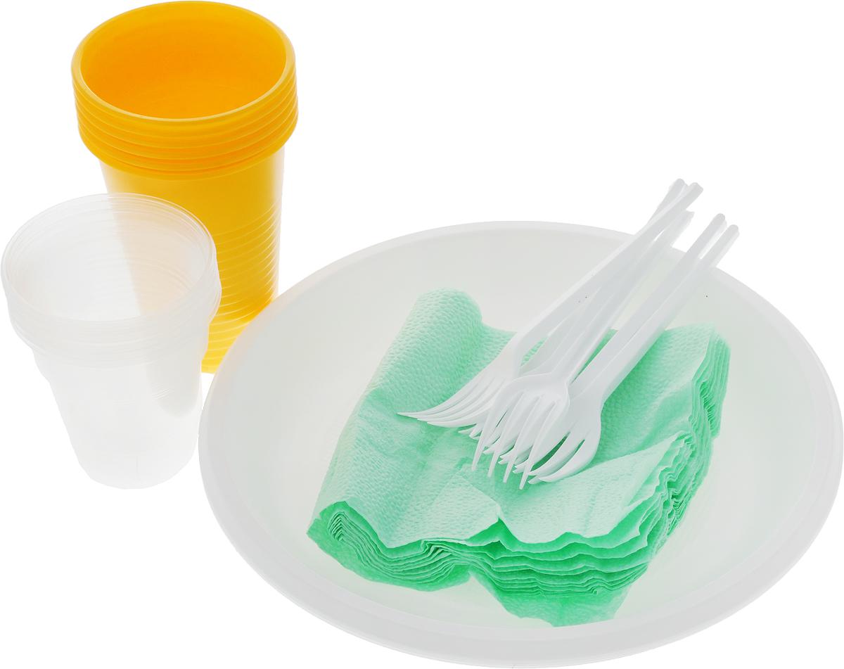 Набор одноразовой посуды Идеал Для пикничка, 30 предметовПОС34346Набор одноразовой посуды Идеал Для пикничка на 6 персон включает 6 тарелок, 6 вилок, 12 стаканов и 6 салфеток. Посуда выполнена из пищевого пластика, предназначена для холодных и горячих пищевых продуктов. Такой набор посуды отлично подойдет для отдыха на природе. В нем есть все необходимое для пикника. Он легкий и не занимает много места, а самое главное - после использования его не надо мыть. Диаметр стакана на 200 мл (по верхнему краю): 7 см. Диаметр стакана на 100 мл (по верхнему краю): 6,5 см. Высота стакана на 200 мл (по верхнему краю): 9,5 см. Высота стакана на 100 мл (по верхнему краю): 6,5 см. Диаметр тарелки: 20,5 см. Длина вилки: 14 см. Размер рабочей части вилки: 4 х 2 см.Размер салфетки: 24 х 24 см.