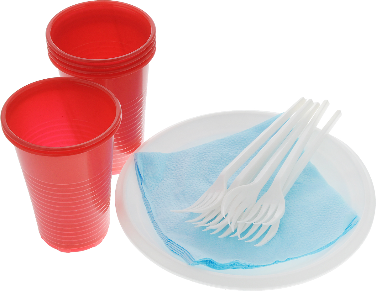 """Набор одноразовой посуды Идеал """"Популярный"""" на 6 персон включает 6 тарелок, 6 вилок, 6  стаканов и 6 салфеток. Посуда выполнена из пищевого пластика, предназначена для холодных и  горячих пищевых продуктов.  Такой набор посуды отлично подойдет для отдыха на природе. В нем есть все необходимое для  пикника. Он легкий и не занимает много места, а самое главное - после использования его не  надо мыть.  Объем стакана: 200 мл. Диаметр стакана (по верхнему краю): 7 см.  Высота стакана (по верхнему краю): 9,5 см.  Диаметр тарелки: 16,5 см.  Длина вилки: 14 см.  Размер рабочей части вилки: 4 х 2 см. Размер салфетки: 24 х 24 см."""