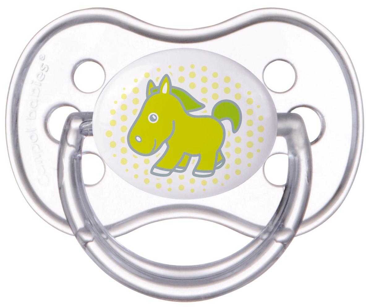 Canpol Babies Пустышка силиконовая круглая Transparent Лошадка от 18 месяцев