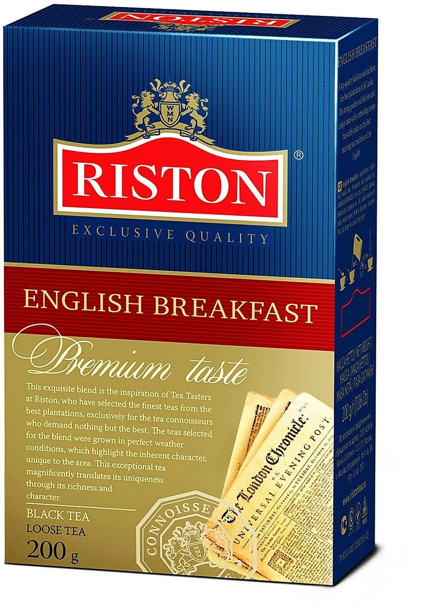 Riston Английский Завтрак ВОР черный листовой чай, 200 г4792156002156Riston Английский Завтрак ВОР - черный чай высшей категории, собранный на лучших плантациях Шри-Ланки. Крепкий настой красного оттенка с золотистым отливом, уникальным вкусом и освежающим ароматом стал непременным атрибутом традиционного английского завтрака.Всё о чае: сорта, факты, советы по выбору и употреблению. Статья OZON Гид