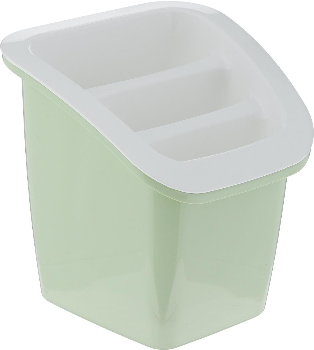 Подставка для столовых приборов Herevin, цвет: оливковый, белый, 17,5 х 18 х 18 см161235-500_оливковый, белыйПодставка для столовых приборов Herevin, выполненная из прочного пластика, состоит из двух частей - верхняя съемная. Изделие имеет 3 продолговатые секции для хранения различных столовых приборов. Внизу секции оснащены отверстиями для стока жидкости. Такая подставка не только позволит аккуратно хранить столовые приборы, но и красиво дополнит интерьер кухни.