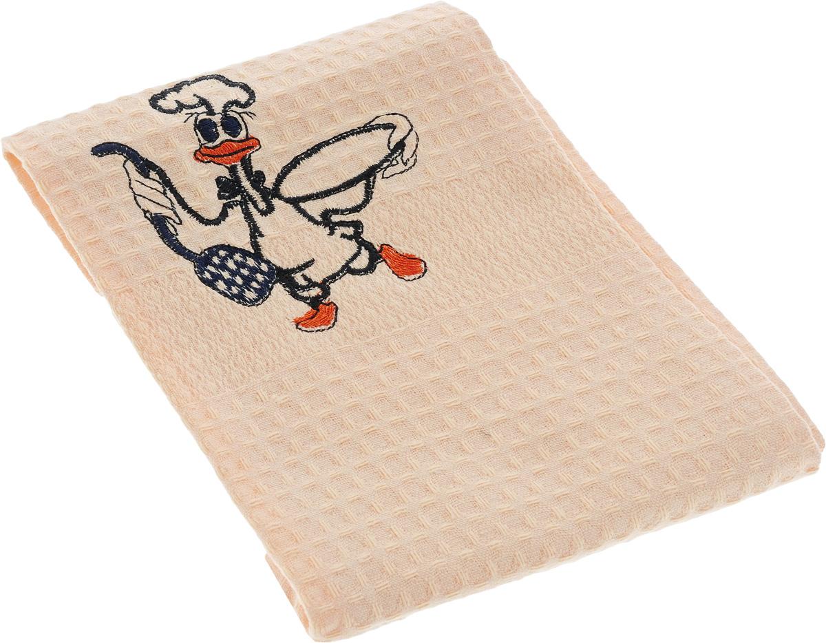 Полотенце кухонное Soavita Утка, цвет: светло-персиковый, 40 х 60 см. 4880448804_УткаКухонное полотенце Soavita Утка, выполненное из 100% хлопка, оформлено вышитым рисунком в виде утки в поварском колпаке. Изделие предназначено для использования на кухне и в столовой.Такое полотенце станет отличным вариантом для практичной и современной хозяйки. Оно легко стирается, хорошовпитывает влагу и обладает износостойкостью. Кроме того, красочная вышивка сделает его отличным дополнением интерьера кухни.Рекомендуется стирка при температуре 40°C.