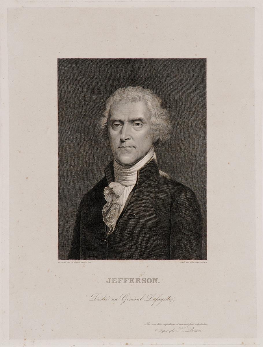 Джефферсон - третий президент США. Офорт. Франция, начало XIX века