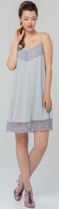 Ночная рубашка женская Tesoro, цвет: серый. 463С1. Размер 50463С1Женская ночная сорочка Tesoro изготовлена из высококачественного нежного вискозного материала. Модель на тонких бретелях с V-образным вырезом горловины декорирована мягким кружевом.