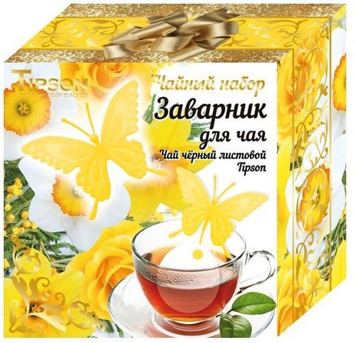 Tipson Желтая Бабочка подарочный набор черный чай Ceylon №1 и ситечко для чая, 85 г tipson империал 3 чайный набор стеклянный чайник и чай 50 г