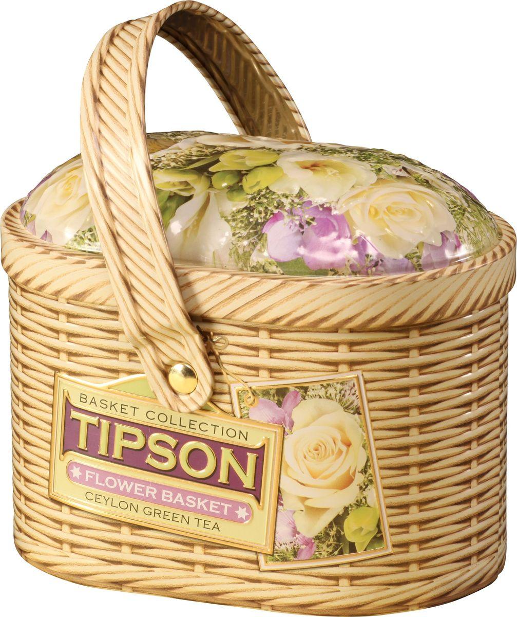 Tipson Basket-Flower зеленый листовой чай с лепестками цветов, 80 г (жестяная банка) tipson pearl зеленый листовой чай 75 г жестяная банка