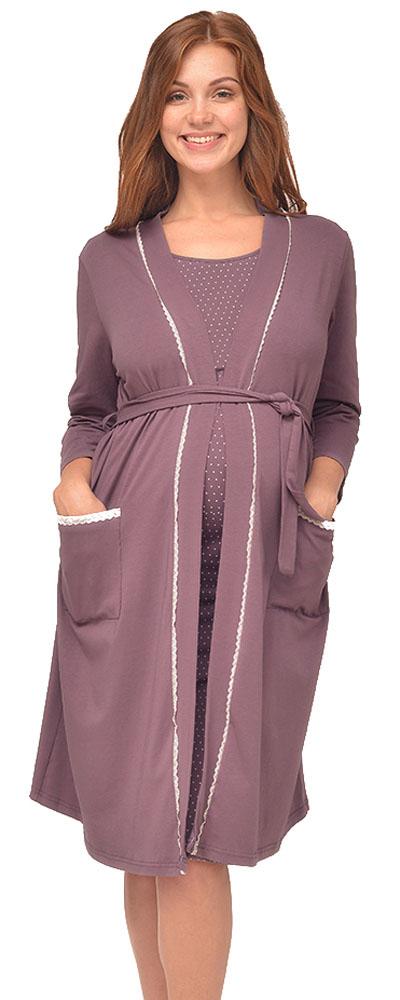 Халат для беременных и кормящих Мамин Дом Grace, цвет: фиолетовый. 25309. Размер 52 сорочка ночная мамин дом мамин дом ma168ewvgv34