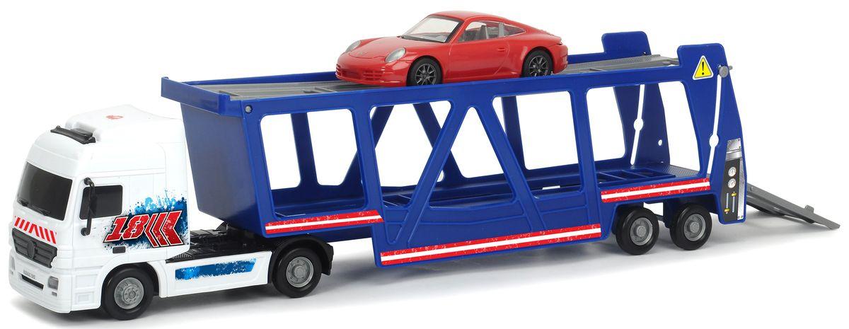 Dickie Toys Трейлер Автовоз с машинкой Porsche игровые наборы dickie набор машинок с трассой пазлами
