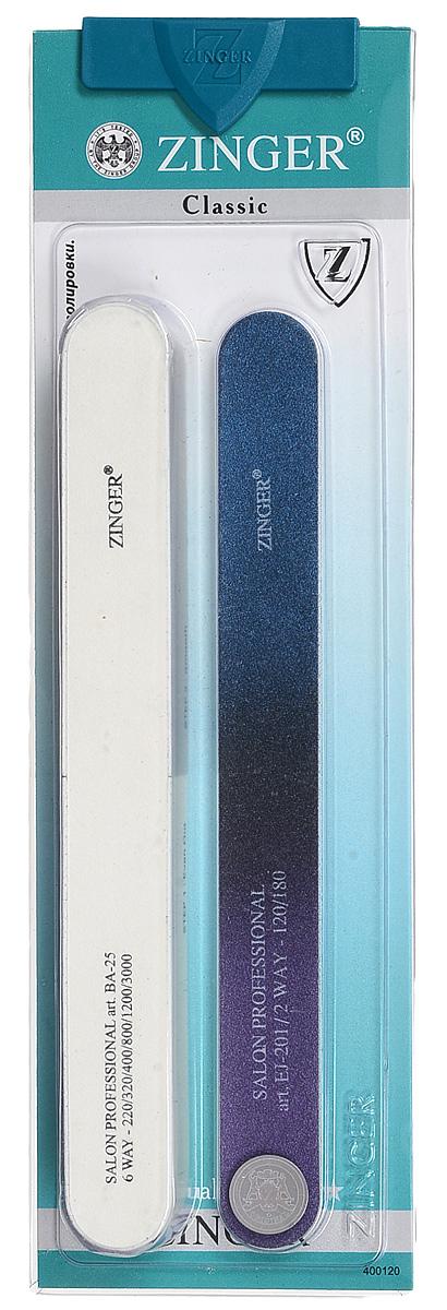 Zinger Набор пилок zo-SIS-23, цвет: белый, синий, черный, фиолетовый 10712 аксессуар маникюрный набор zinger zo sis 221