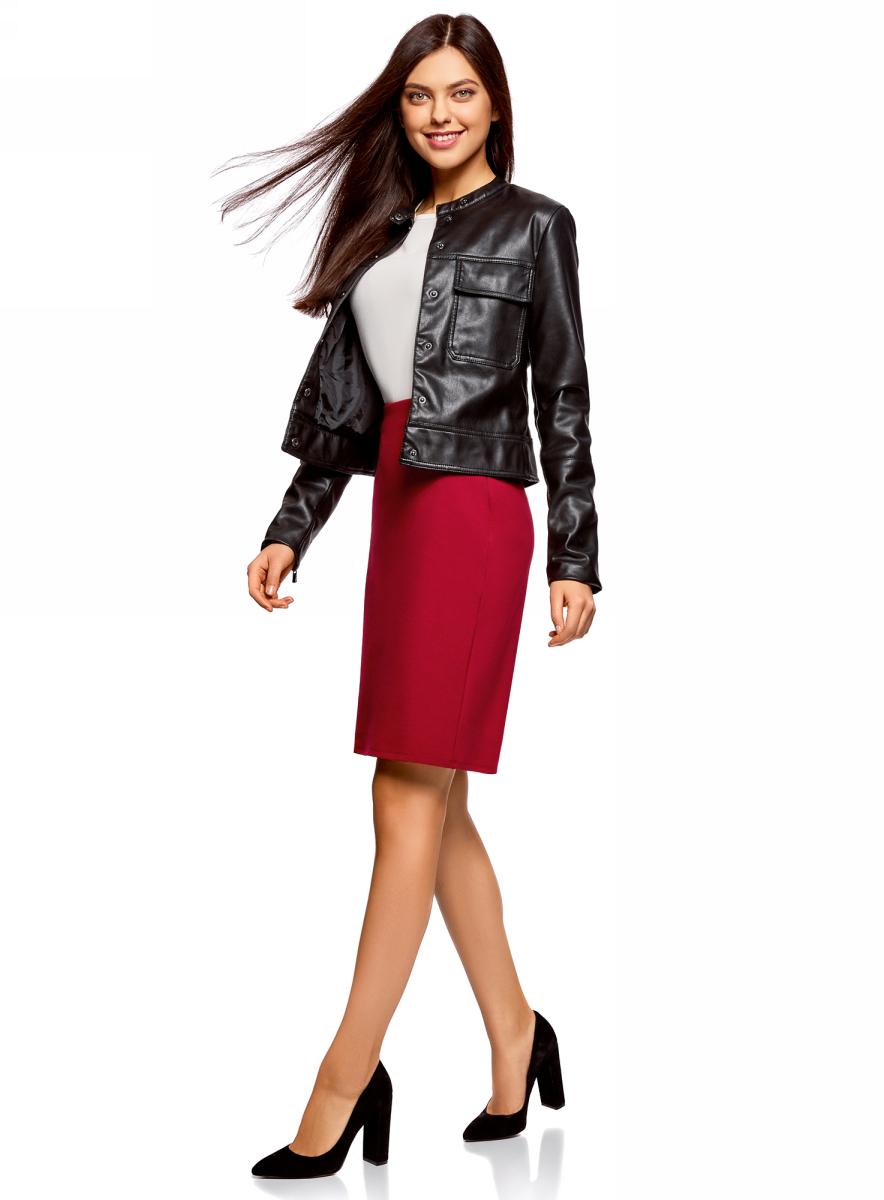 Юбка oodji Collection, цвет: красный. 24101048B/45176/4500N. Размер L (48)24101048B/45176/4500NКлассическая юбка-карандаш выполнена из высококачественного материла. Сбоку застегивается на потайную застежку-молнию.