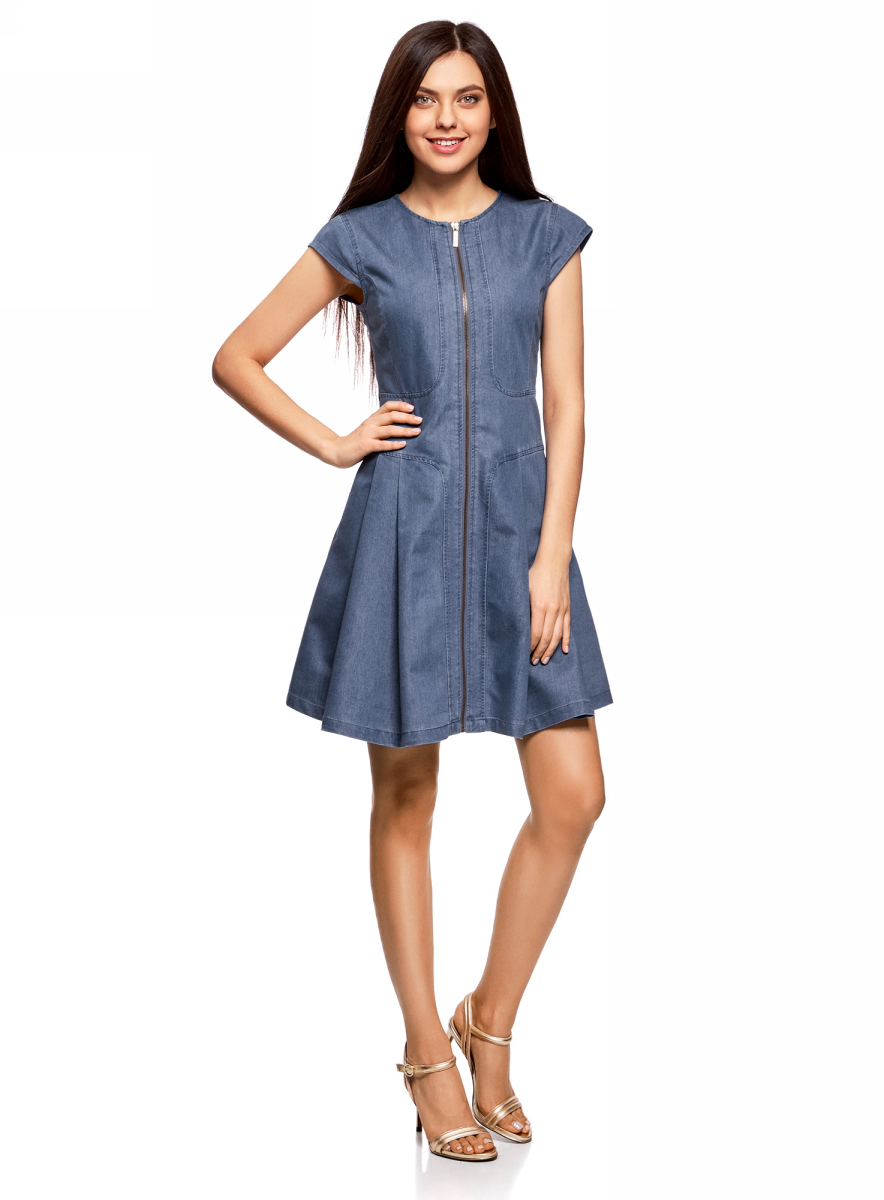Платье oodji Ultra, цвет: голубой джинс. 12909050/46684/7000W. Размер 38-170 (44-170)12909050/46684/7000WСтильное платье выполнено из хлопка с полиэстером. Модель с короткими рукавами-крылышками застегивается на молнию по всей длине.