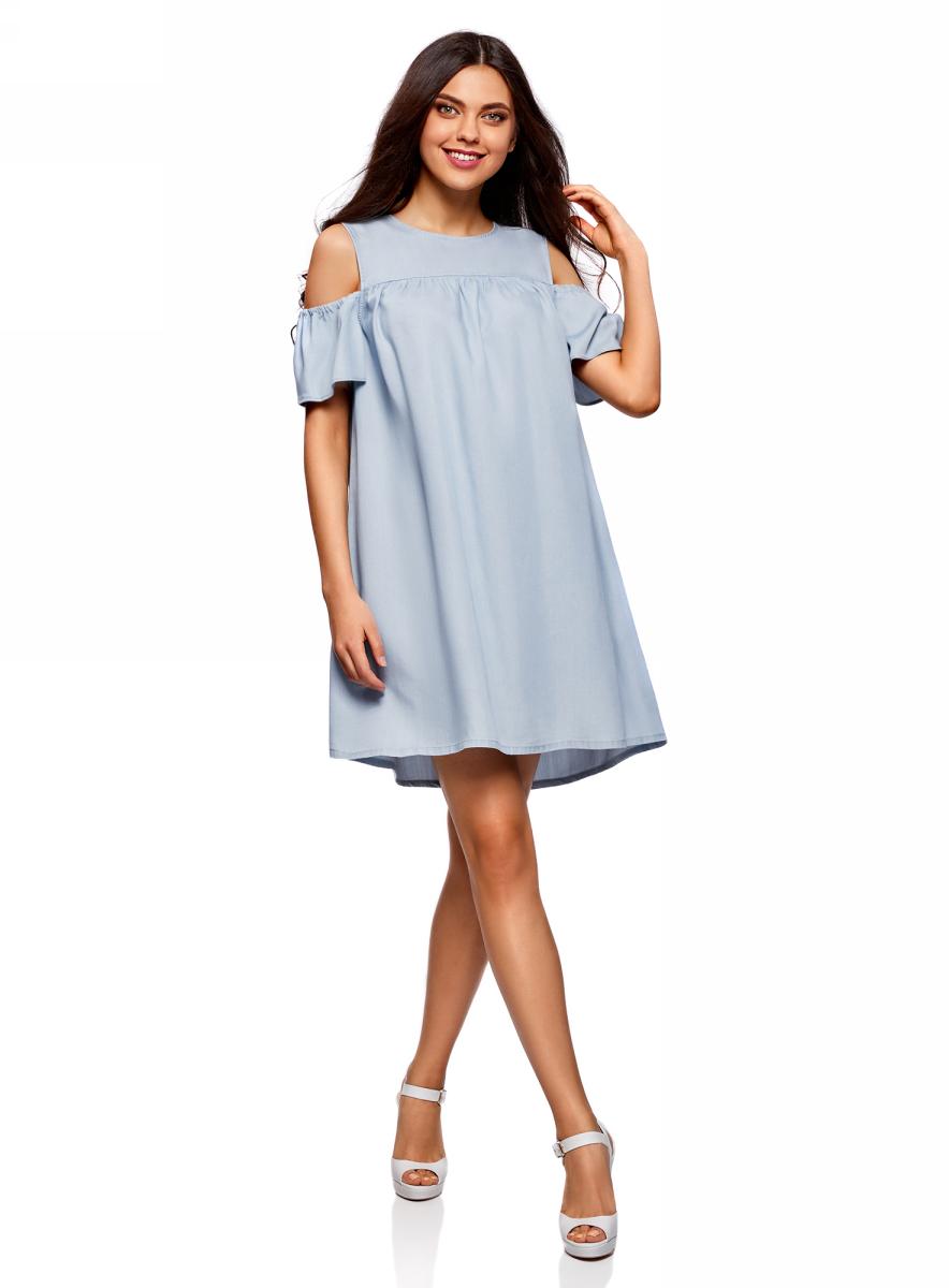 Платье oodji Ultra, цвет: голубой джинс. 12909055/42579/7000W. Размер 36-170 (42-170)12909055/42579/7000WПлатье oodji изготовлено из качественного плотного материала. Модель выполнена с круглым вырезом, открытыми плечами и короткими рукавами. Платье-мини застегивается сзади на пуговицу.
