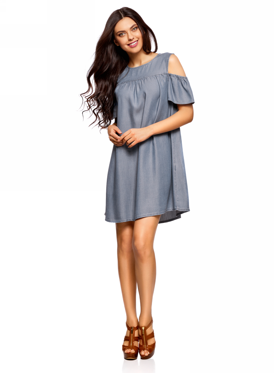 Платье oodji Ultra, цвет: синий джинс. 12909055/42579/7500W. Размер 42-170 (48-170)12909055/42579/7500WПлатье oodji изготовлено из качественного плотного материала. Модель выполнена с круглым вырезом, открытыми плечами и короткими рукавами. Платье-мини застегивается сзади на пуговицу.