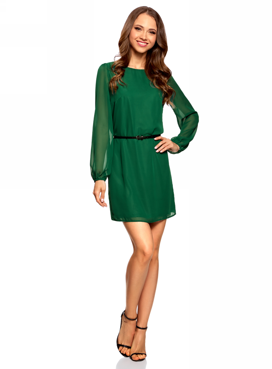 Купить Платье oodji Ultra, цвет: темно-изумрудный. 11900150-5B/13632/6E01N. Размер 34-170 (40-170)